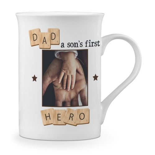 Personalised Dad, A Son's First Hero Novelty Gift Fine Bone China Mug